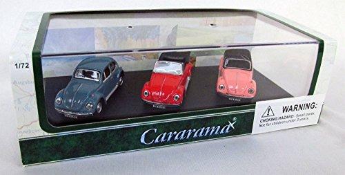 (Volkswagen Beetle 3 Piece Gift Set in Display Showcase 1/72 by Cararama 71309)