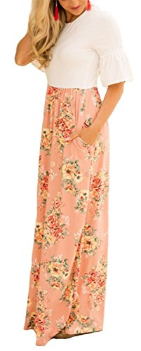 ETCYY Women's V Neck Adjustable Straps Summer Dress Beach Cover ups Maxi Dresses with Pocket Pink ()