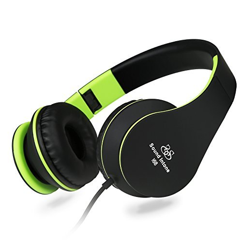 Headphones, Sound Intone I68 Stereo Lightweight Foldable Headsets with Microphone for iPhone 6 6 Plus, iPod, iPad Air, Samsung S6 S5, HTC, LG G4 G3, Android Smartphones, MP3 Earphones, (Black/green)