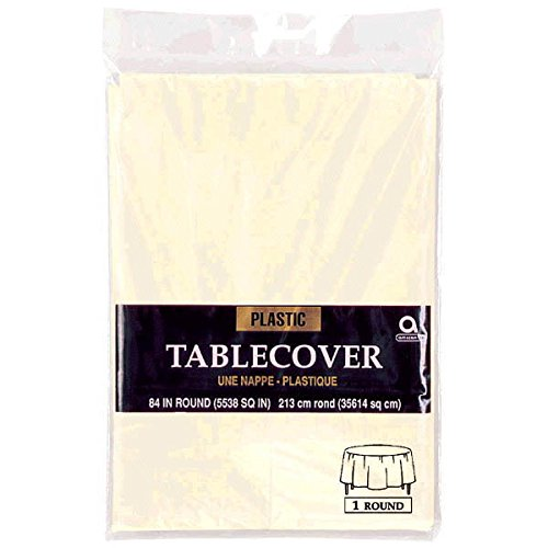 Amscan Round Plastic Table Cover | Vanilla Creme | 84'' | Party Supply | 12 ct.