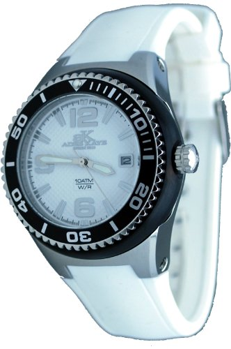 Adee Kaye #2230SS-LG Women's Neptune Collection Stainless Steel Silicone Band Black and White Watch