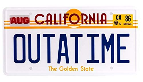 OUTATIME License Plate For Delorean Movie Prop BTTF Merchandise Memorabilia ASVP Shop (Delorean License Plate Back To The Future)