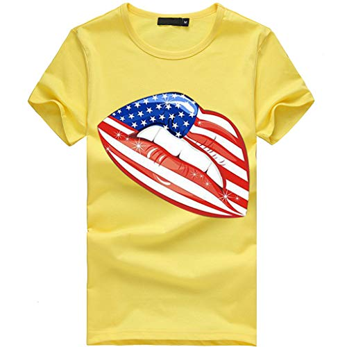 (Clothful  Women Dress, Women Plus Size Lips Independence Day Print Short Sleeve T-Shirt Blouse Tops Yellow)