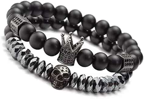 Lava and Onyx Bead Leather Bracelet for Men Speroto New Mens Bracelet Bead and Leather Braided