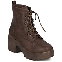 Indulge Women Block Heel Ankle Boot - Lug Sole Bootie - Lace Up Chunky Heel Combat Boot - Dressy Casual Trendy Costume Cosplay Party Bootie - Mona-I