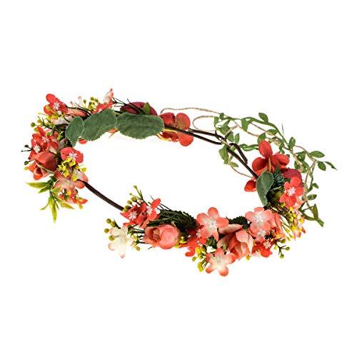 Floral Fall Adjustable Bridal Flower Garland Headband Flower Crown Hair Wreath Halo F-83 (Rose Crown) -