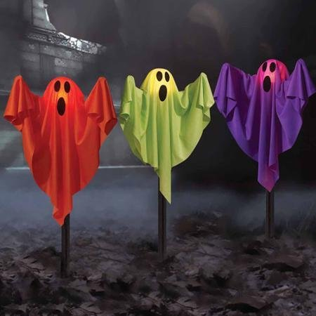 (Ghost Fabric Halloween Lawn Stakes, Set of)