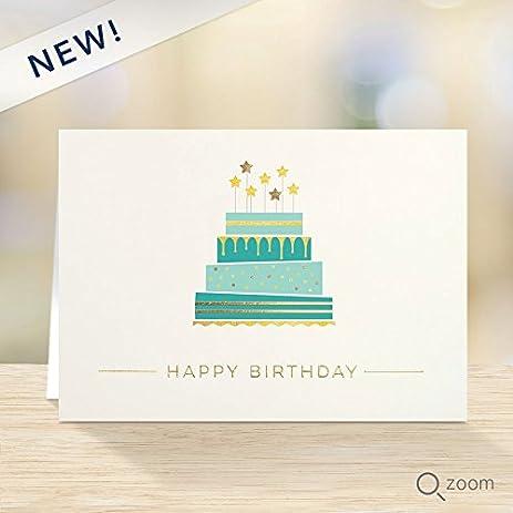 Amazon pack of 25 wall street greetings festivie cake birthday pack of 25 wall street greetings festivie cake birthday 5x7 premium foldover cards with 25 ivory m4hsunfo