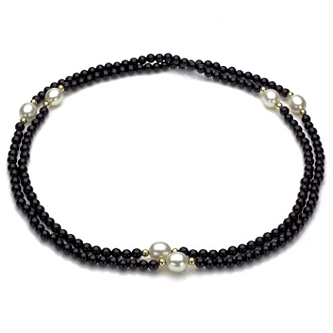 14k Yellow Gold 8-8.5mm White Freshwater Cultured Pearl 3-4mm Simulated Onyx Endless Necklace, 30