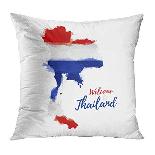 Qryipd Throw Pillow Cover Symbol Banner Thailand Map Comfortable Living Room Print Sofa Bedroom Polyester Hidden Zipper Pillowcase Cushion Cover 18x18 Inch