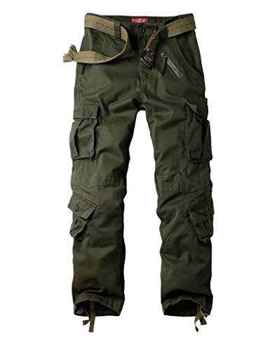 AUSZOSLT Women's Casual Loose Fit with 8 Pockets Cargo Pants Plus Size Camouflage Work Pants Military Green US 8