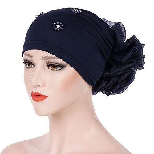 Lmtime Women Beading India Hat Muslim Ruffle Chemo Beanie Scarf Turban Wrap Cap Head Scarf(Navy)