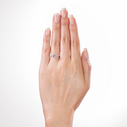 Diamond Studs Forever - Bague de fiançailles - or blanc 14 ct - diamant 1 carat - G-H/I1 - certifié IGI