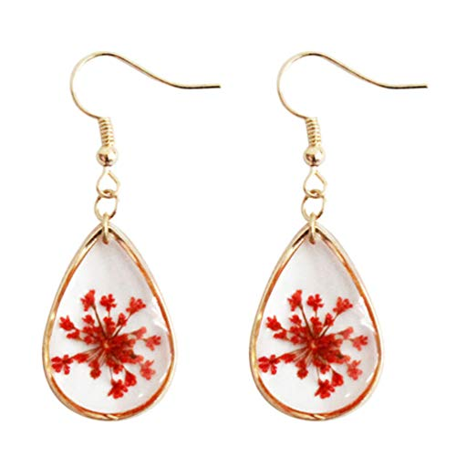 Pressed Flower Teardrop Earrings Real Natural Dried Plant Hook Drop Dangle Women Gold Plated Red