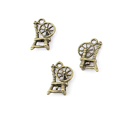 (40 pieces Anti-Brass Fashion Jewelry Making Charms 14556 Antique Spinning Wheel Wholesale Supplies Pendant Craft DIY Vintage Alloys Necklace Bulk Supply Findings)