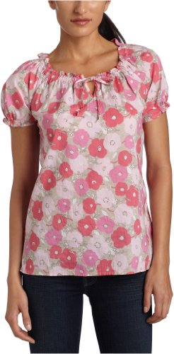 IZOD Women's Crinkle Floral Print Shirt,Feather,Large
