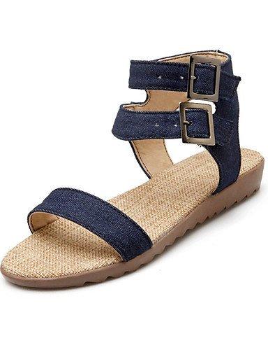Noir Shangyi Bleu Femmes Robe Casual Confort Sandales Noir Extérieur Plat Chaussures Toile Talon qa1P544x