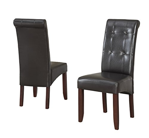 Simpli Home Cosmoplitan Deluxe Tufted Parson Chairs, Pu Leather, Dark Brown (Set of 2)