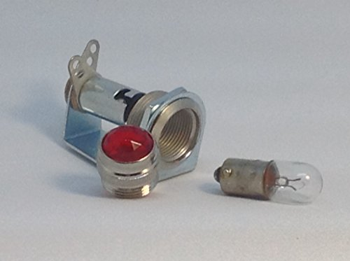 (Tube Amp Pilot Light Lamp Assembly with Red Jewel + Number 47 Bulb Made In USA)