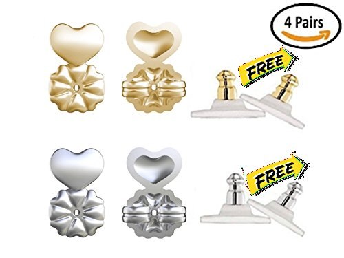 Price comparison product image Rebber Earring Lifters for Heavy Drooping Earrings - 2 Pairs Adjustable Hypoallergenic Earring Lifts As Seen on TV - Bonus 2 Pairs Clutch Earring Backs