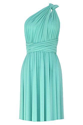 E K Infinity Short Dress Bridesmaid Convertible Gown Multi wrap Plus Size Prom Skirt Knee Length Transformer wear-Tiffany Blue-l-XL