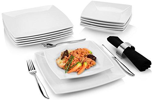 Bluespoon Tafelservice 'Nicki' aus Porzellan 12 teilig quadratisch | Genießen Sie Ihre Speisen von diesen perfekt abgestimmten Tellern | Absolut hochwertige Qualität