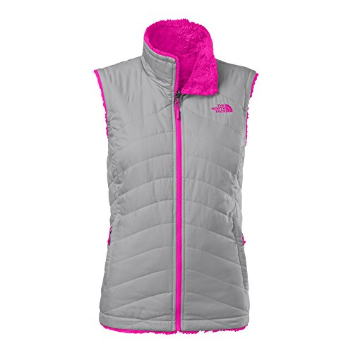 The North Face Mossbud Swirl Reversible Vest Womens Mid Grey/Luminous (Pink Reversible Vest)