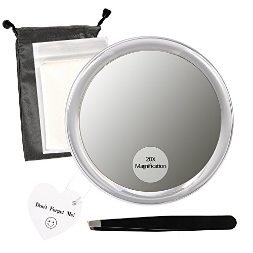 Beauty Planet 20x Magnifying Mirror 3 Suction Cups, Use Makeup Application, Tweezing Blackhead/Blemish Removal.Comes 1PC Storage Bag, 1PC Tweezer, 1PC Reminder Card 2PCS Non-Dust Cloth. by Beauty Planet