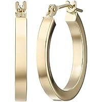 14k Yellow Gold Square Tube Hoop Earrings