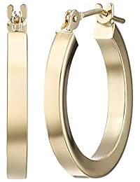 14k Yellow Gold Square Tube Hoop Earrings