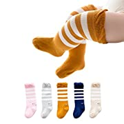 Joylish 5 Pairs Baby Knee High Socks for Girls Boys - Unisex Newborn Stockings Cotton (S: 0-12M)