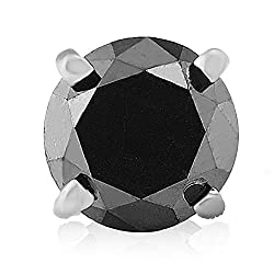 Mens 1/2ct Black Diamond in 10K White Gold Stud