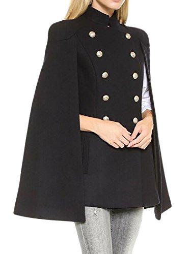 BU2H Women's Mid Long Double Breasted Loose Woolen Cloak Coat Shrug Cape Black US L