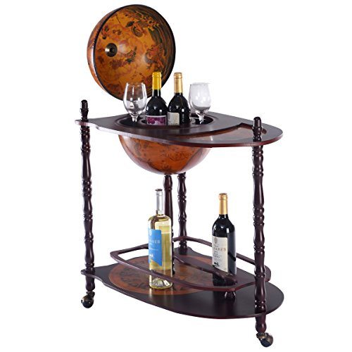 New Wood Globe Wine Bar Stand 34