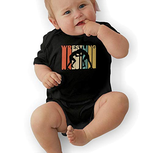 Short Sleeve Cotton Bodysuit for Baby Boys and Girls, Soft Retro Style Wrestling Silhouette Jumpsuit Black