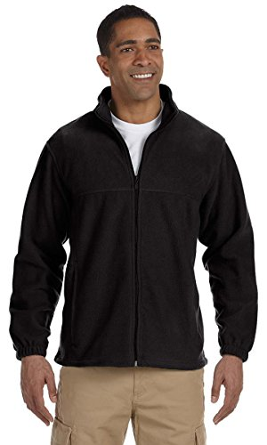 Harriton Mens Tall 8oz. Full-Zip Fleece (M990T) -Black (Harriton Mens Full Zip Fleece)