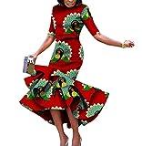 Mfasica Womens Short Sleeve Mermaid Africa Dashiki Batik Retro Maxi Dress White XL