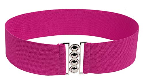 (Modeway Women 3inch Fashion Wide Belt Elastic Stretch Waist Belt, Metal Buckle Waistband (M-L, Fuchsia) A6-2)