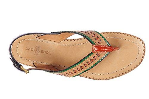 Sandalias Piel Car Shoe Mujer Zapatillas En Nuevo Chanclas Nature Marrón F1KlJc
