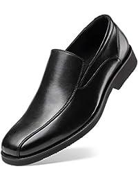 Men's Black Dress Shoes Loafer - Stylish Bicycle Toe Leather Slip-On
