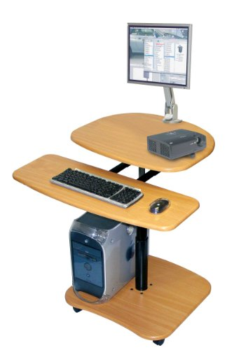29 to 36 Inch Sit Down or Stand Up Hydraulic Adjustable Height Computer Mobile Workstation with Keyboard and Printer or CPU Shelf