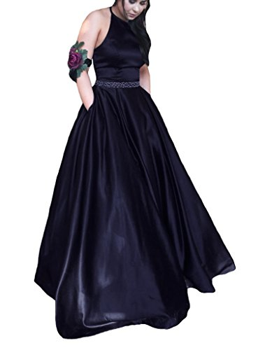 Robe Tbgirl Marine Robes Soirée Femmes De Avec Poche Bal Perlée Licol Satin WwBH01q