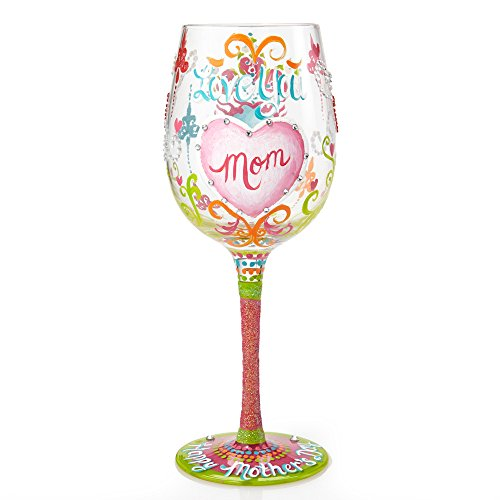 "Designs by Lolita ""Mother's Day"" Hand-painted Artisan Wine Glass, 15 oz."