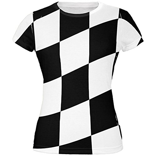 Checkered Flag Shirts (Finish Line Checkered Flag Wave All Over Juniors T-Shirt - Small)