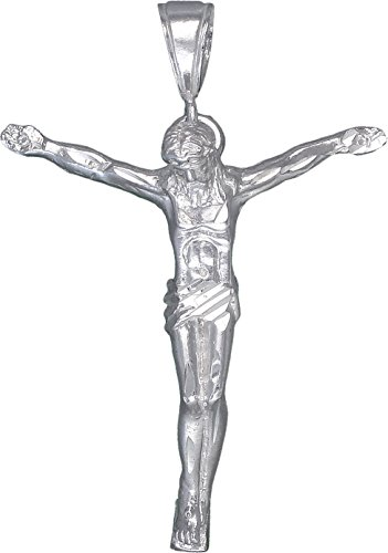 eJewelryPlus Sterling Silver Jesus Christ Pendant Necklace Diamond Cut Finish with 24 Inch Chain (Without Chain)