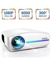 Vidéoprojecteur, WiMiUS 6000 Lumens Rétroprojecteur Full HD 1920 x 1080P Natif Vidéo Projecteur Soutien 4K Réglage Trapézoïdal 4D, Dolby HiFi Stereo SoundBar, avec VGA HDMI AV USB pour Home Cinéma PS4