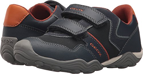 Geox Boy's Arno Hook and Loop Sneaker (Navy/Dark Orange, 35 M EU/3.5 M US Big Kid)