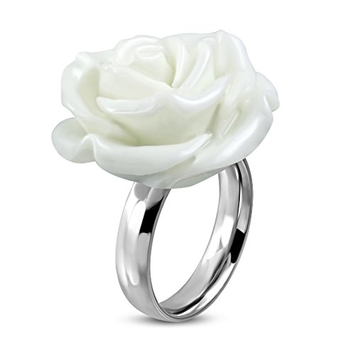 Stainless Steel White Resin Single Bloom Rose Flower Comfort Fit Cocktail -