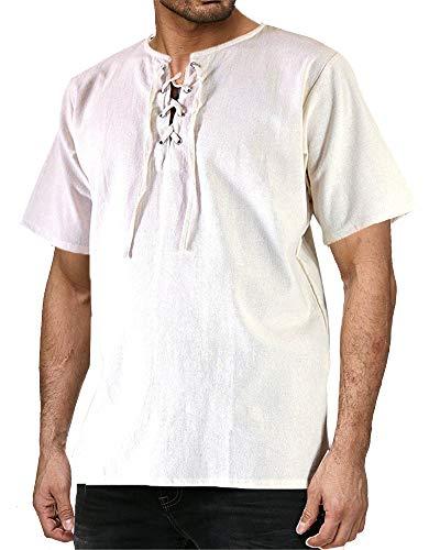 Mens Medieval Pirate Shirt Viking Renaissance Lace up Halloween MercenaryScottish Jacobite Ghillie - Colonial Pirate