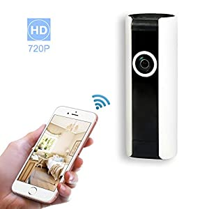 Wireless Home Security Surveillance IP Camera DVR HD WiFi indoor Cam Video Baby Pet Monitoring with 180 degree Super Wide angle, Night Vision, Two Way Audio, Motion Detection Alert, Loop Recording
